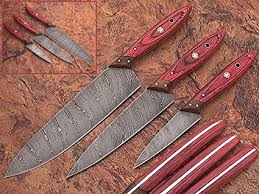 custom made kitchen knives amazon com 1046 custom made damascus steel kitchen chef knife set 3