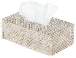 Tissue Holder Laguna Rectangular Rattan Tissue Box Cover White Wash Beach