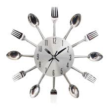 cool stylish modern design wall clock silver kitchen cutlery