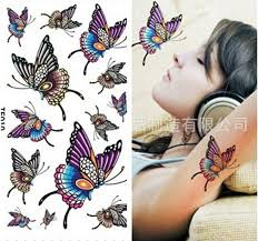 wholesale letter butterfly stickers temporary tattoos