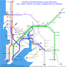 Map Walking Distance Different View Mumbai Suburban Railway Map Indicating How Many