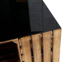 Schreibtisch Mit Schwarzer Glasplatte Couchtisch Couchtisch Aus Geflammten Apfelkisten Auf Rollen Inkl