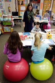 Yoga Ball As Desk Chair Teachers Ditch Student Desk Chairs For Yoga Balls The Columbian