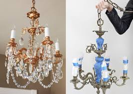 Painted Chandelier With Copper Spray Paint 11 Diy Ideas