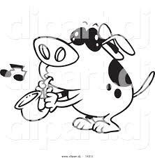 mailman coloring pages vector of cartoon dog playing a saxophone coloring page outline