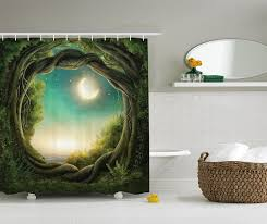 Mystical Forest Mural Nature Mural Amazon Com Kids Shower Curtain Bathroom Decor By Ambesonne Trees