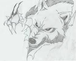 ripped skin wolf pencil work angry wolf with paw
