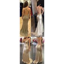 backless sequin prom dress mermaid gold prom dress long prom