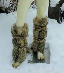 fur leg warmers barbarian costume tribal cosplay larp