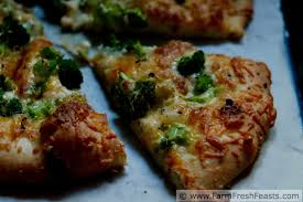 farm fresh feasts cheesy broccoli pizza with mascarpone