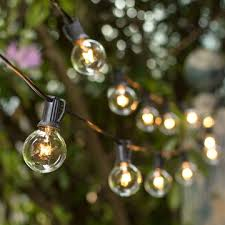 100 ft outdoor string lights 100 ft clear globe string lights 1 5 bulbs black wire outdoor