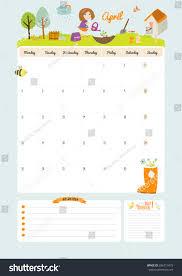 cute calendar template 2016 beautiful diary stock vector 286713479