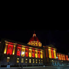 sf city hall lights sf city hall all lit up in red and gold to support the 49ers