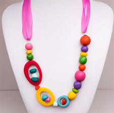 pink coloured beads necklace images Necklace pink ribbon multi coloured resin beads red green jpg