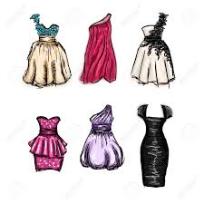 vector set of gorgeous hand drawn evening and prom dresses royalty