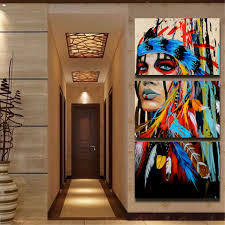 3pcs modern abstract canvas painting frameless wall art indian 3pcs modern abstract canvas painting frameless wall art indian woman bedroom living room home decor