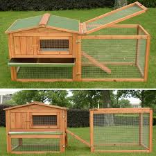 pawhut wooden rabbit hutch cage bunny house chicken coop habitats