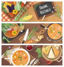 cuisiner sain cuisiner et manger sain bannière ensemble image vectorielle