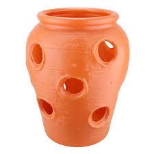 union large strawberry jar terra cotta color plastic planter