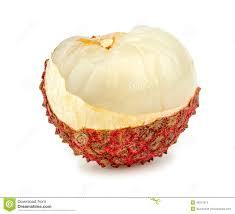lychee fruit inside macro closeup of half peeled lychee fruit stock image image