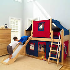 Bed Fort 2 Story Play Fort Low Loft Bed W Slide By Maxtrix Kids Blue Red