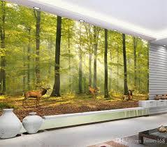 Sho Natur green forest animals deer nature landscape photo wall mural