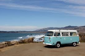 volkswagen van hippie blue california road trip la to big sur