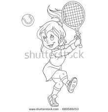 coloring playing tennis colouring stock vector 680580253