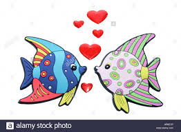 tropical fish ornaments with hearts stock photo royalty free