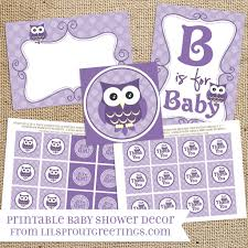 purple owl baby shower printable decorations instant