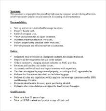 Job Responsibilities Resume by Sample Bartender Resume Template 8 Download Free Documents In