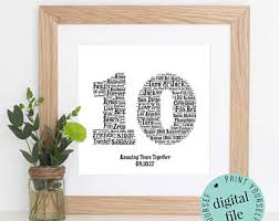 10 year wedding anniversary gift ideas 10 year anniversary etsy