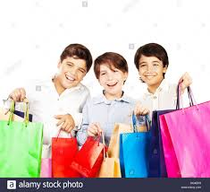 happy boys with gifts kids carrying colorful shopping bags with