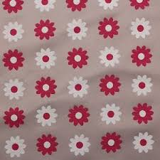 Seating Upholstery Fabric Natural Grey Cerise Daisy Floral Cushion Seating Upholstery Fabric