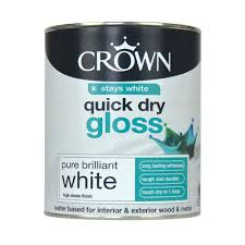 crown quick dry gloss paint pure brilliant white 750ml at wilko com