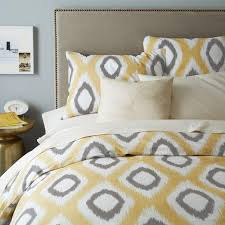 ikat yellow and grey diamond duvet cover and shams