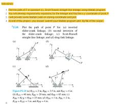 question ns 1 plot the path of p in question c scott russel straight line linkage using matlab program