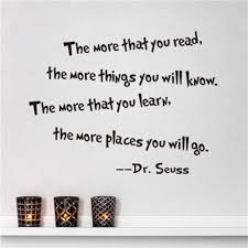 dr seuss the more that you read you know quote vinyl wall decal features high quality brand new100 material nontoxic pvc which is removable without residue remaining on the surface non toxic environmental protection