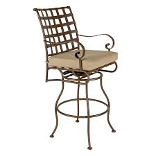 classic outdoor brown polished wrought swivel bar stool with