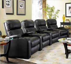 Black Leather Sofa And Chair Headliner Home Theater Seating In Manual Recline And Black Top