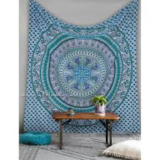 white blue ethnic vibrant floral design cool wall hanging tapestry