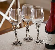 skeleton wine glasses pottery barn