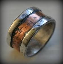 artisan wedding rings mens wedding band rustic silver copper and brass handmade