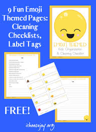 Bedroom Cleaning Checklist Emoji Themed Cleaning Checklists And Label Tags I Choose Joy
