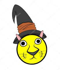 funny cartoon cat face smiley wearing halloween hat u2014 stock vector