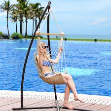 hammocks cushioned hanging hammock swing lounger chair all weather