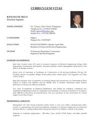 Sample Resume For Electrical Engineer In Construction Field by Curriculum Vitae Of R M Rico