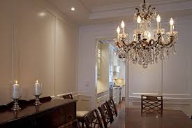 impressive schonbek in dining room traditional with rustic