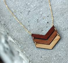 wooden necklaces chevron necklace 5 year anniversary gift for women three chevrons