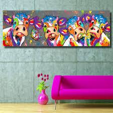 K He Modern Hdartisan Bunte Vier Kühe Tieren Graffiti ölgemälde Leinwand Für